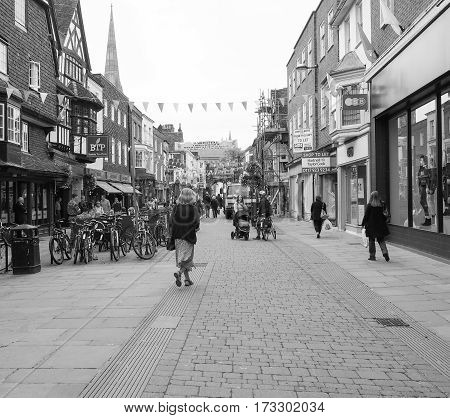 View Of The City Of Salisbury In Black And White