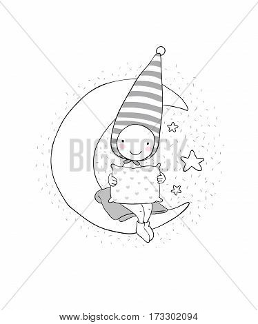 Cute gnome on the moon. Pillow and blanket. Vector illustration for children design.