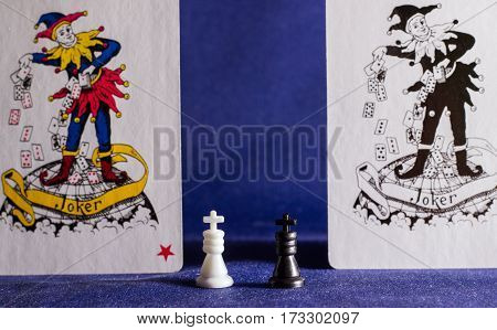 board games kings at the tissue background these are the main figures in the game exciting battles
