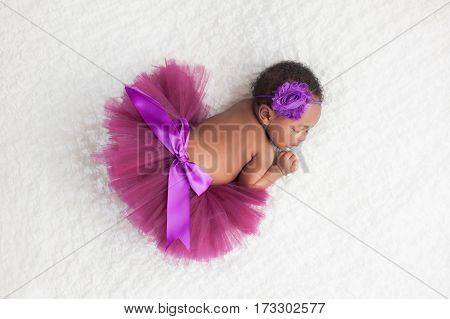 Portrait of a one month old sleeping newborn baby girl. She is wearing a purple tutu and sleeping on a white blanket.