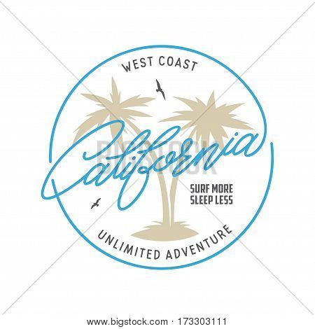 West coast california long beach t-shirt vector graphics. California related apparel design. Vintage style illustration.