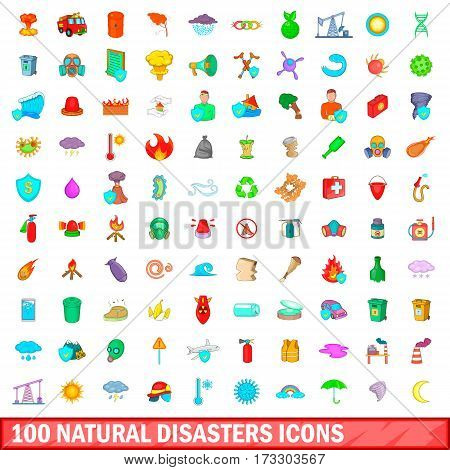 100 natural disasters icons set in cartoon style for any design vector illustration