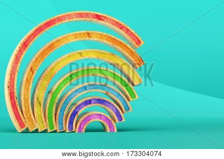 Abstract wooden rainbow on light blue background. 3d rendering