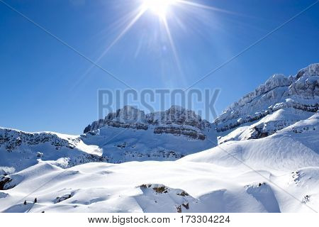 Mountain Range In Candanchu, Pyrenees, Spain With The Sun Up