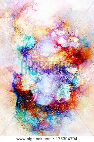 Cosmic space and stars, cosmic abstract background and glass effect