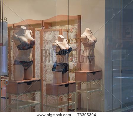Underwear on a mannequin in a shop window