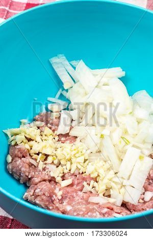 Fresh Raw Minced Meat With Chopped Onions
