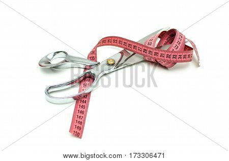 Tailor Scissors, Centimeter, Isolated On White Background