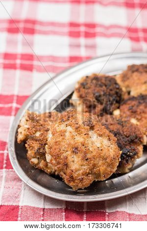 Homemade Minced Meat Meatballs On The Plate