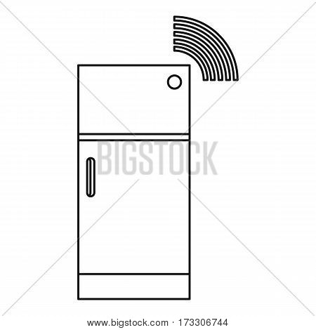 Fridge icon. Outline illustration of fridge vector icon for web