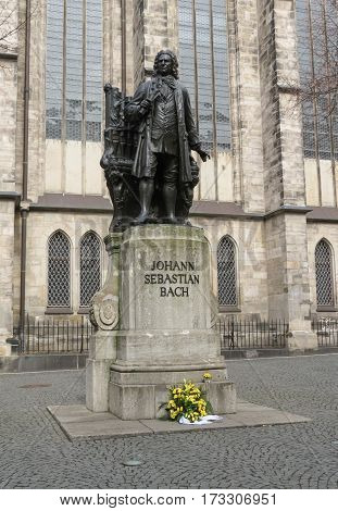 Monument for Johann Sebastian Bach in front of the Thomas Church (Thomaskirche). Leipzig Germany