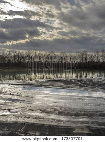 Dirty Lake In Nature With Coal Mine Pollution
