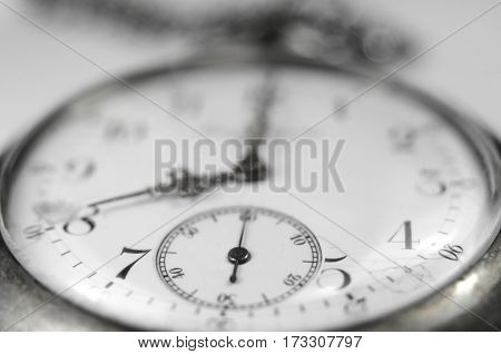 Macro Close-up View Of Old Vintage Pocket Watch