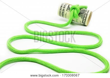 Roll Of Hundred Dollar Bills Related Rope In Knot