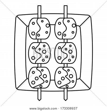 Meat shashlik icon. Outline illustration of meat shashlik vector icon for web