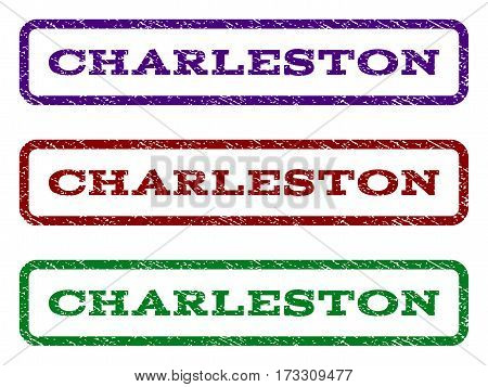 Charleston watermark stamp. Text tag inside rounded rectangle with grunge design style. Vector variants are indigo blue red green ink colors. Rubber seal stamp with scratched texture.