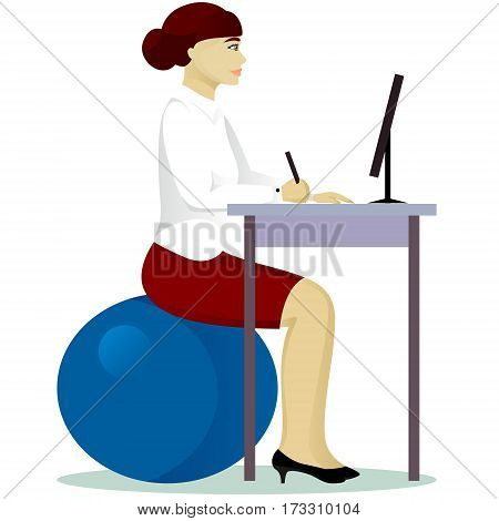 woman in office on fitball isolated vector illustration