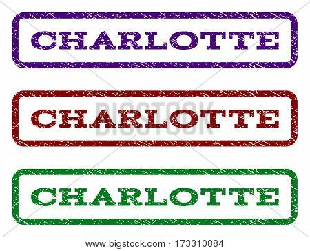 Charlotte watermark stamp. Text tag inside rounded rectangle with grunge design style. Vector variants are indigo blue red green ink colors. Rubber seal stamp with dust texture.