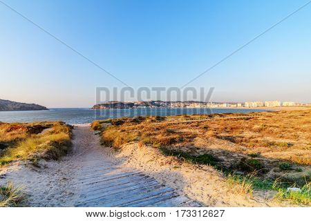 Beach of São Martinho do Porto on the coast of Portugal