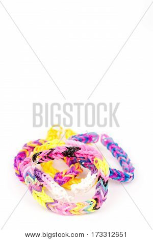 Colorful Loom Rubber Bands Isolated Over White Background