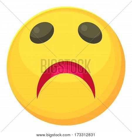 Sad smiley icon. Cartoon illustration of sad smiley vector icon for web