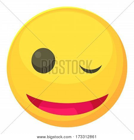 Winking smiley icon. Cartoon illustration of winking smiley vector icon for web