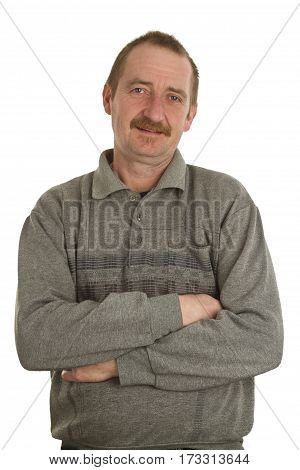 Casual man standing isolate white Background. Shot in Studio