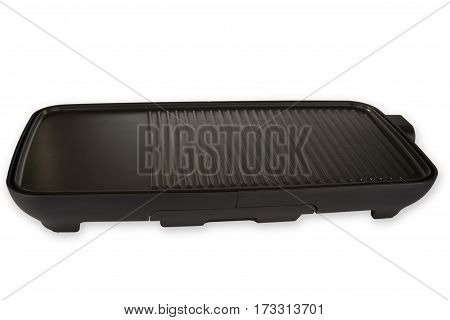 Black electric barbecue isolated on white background