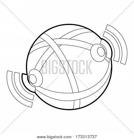 Globe database icon. Outline illustration of globe database vector icon for web