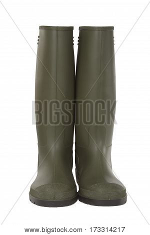 Grenn Rubber Boots isolated on white background