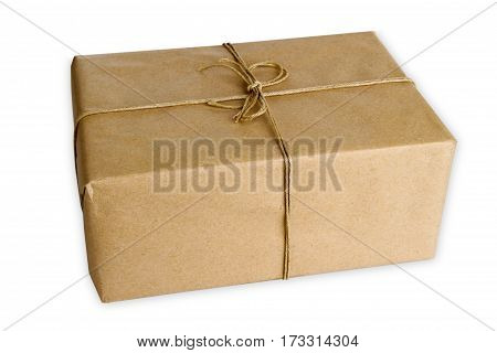 Brown Parcel isolated on white background in studio