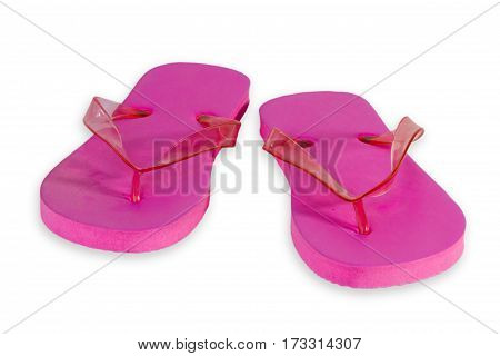 Pink Flip Flops isolated on white Background
