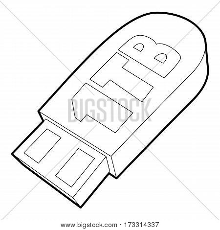 Flash drive icon. Outline illustration of flash drive vector icon for web