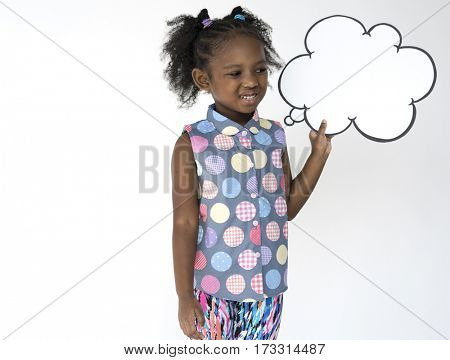Little Girl Smiling Happiness Speech Bubble Thinking Copy Space Portrait