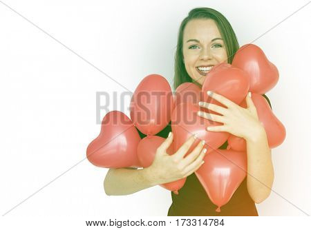Happiness woman in love hugging heart