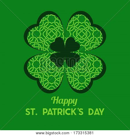 St Patrick's Day Vector Background With Clover. Lucky Spring Symbol. Shamrock Background - Stock Vec
