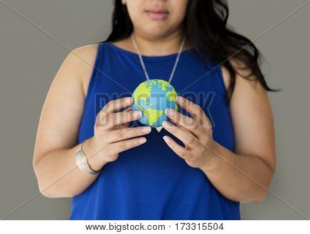 Woman Holding World Environment Portrait
