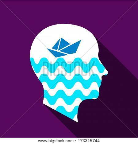 Dreaming brain icon. Flat illustration of dreaming brain vector icon for web