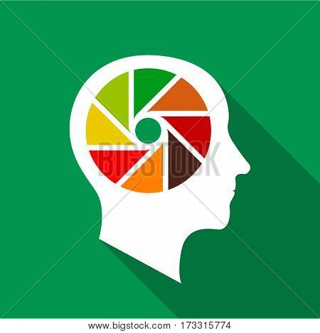 Designer brain icon. Flat illustration of designer brain vector icon for web
