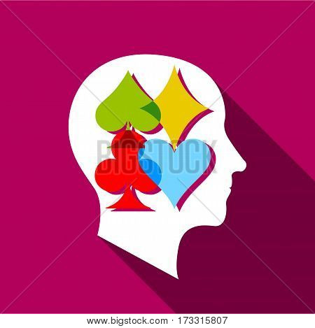 Player brain icon. Flat illustration of player brain vector icon for web