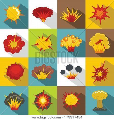 Explosion icons set. Flat illustration of 16 explosion vector icons for web