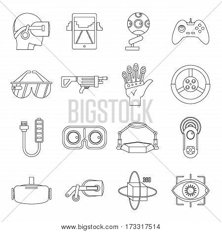 Virtual reality icons set. Outline illustration of 16 virtual reality vector icons for web