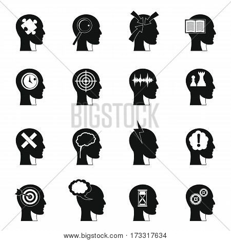 Head logos icons set. Simple illustration of 16 head logos vector icons for web