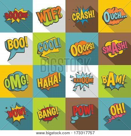 Comic colored sound icons set. Flat illustration of 16 comic colored sound vector icons for web