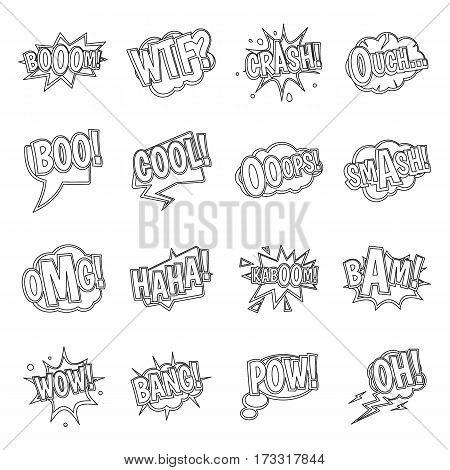 Comic colored sound icons set. Outline illustration of 16 comic colored sound vector icons for web