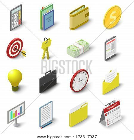 Business icons set. Isometric 3d illustration of 16 business vector icons for web