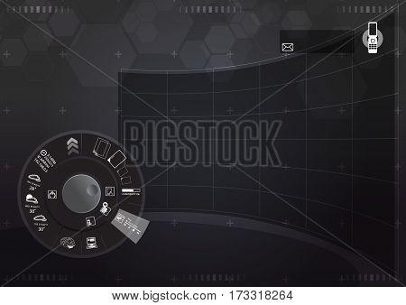 dial futuristic interface black tone curve  screen