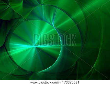 Abstract fractal computer generated green composition with various geometrical shapes