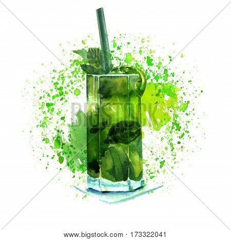 A watercolor drawing of a mojito cocktail with mint leaves, a wedge of lime, and a drinking straw, on green watercolour textures with copy space