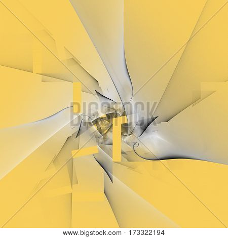 Abstract Swirling Smoky Grey Shapes On Yellow Background. Fantasy Fractal Design. Digital Art. 3D Re
